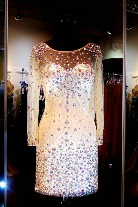 Full Sleeves Prom Dresses, Long Sleeve Cocktail Dress, Prom Dresses with Rhinestones, Short Dress, Champagne, Cocktail Dress Sexy